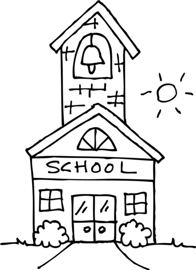 Cute Schoolhouse Coloring Page
