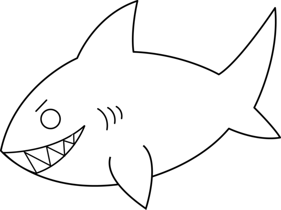 Line Art Shark : Colorable shark line art free clip