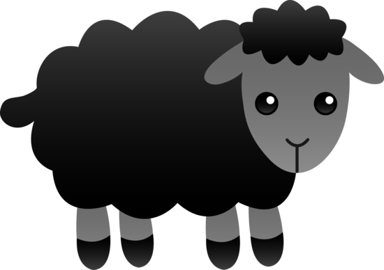 Fluffy Black Sheep - Free Clip Art