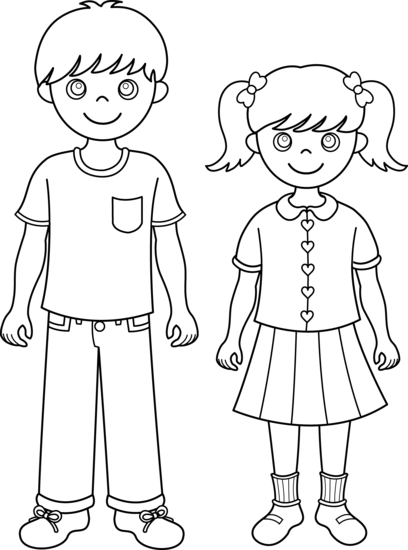Brother and Sister Line Art - Free Clip Art