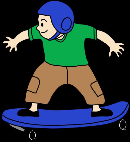 Clip Art of a Kid Skateboarding