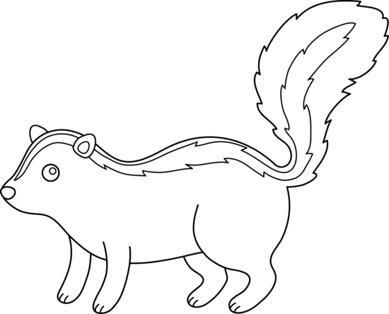 Cute Skunk Line Art Free Clip Art