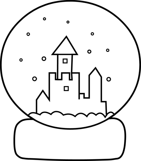 Cute Snow Globe Coloring Page - Free Clip Art