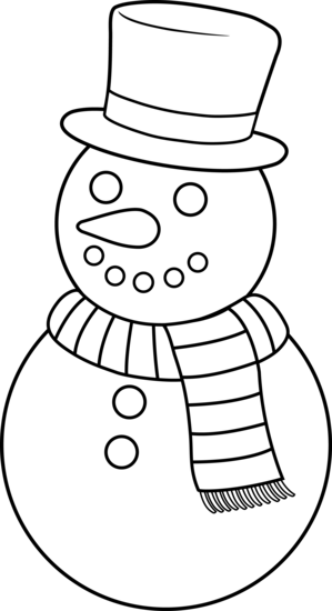 Colorable Christmas Snowman - Free Clip Art