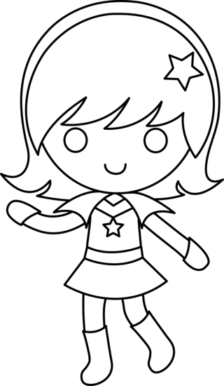 Space Girl Black and White Line Art