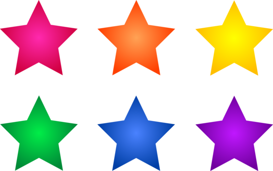 Set Of Six Colorful Stars