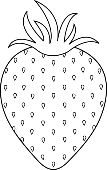 Black and White Strawberry Line Art