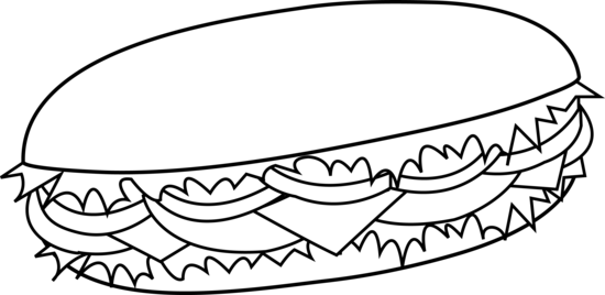 Sub Sandwich Black and White Outline