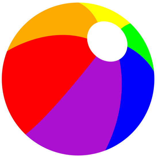 Rainbow Summer Beach Ball - Free Clip Art