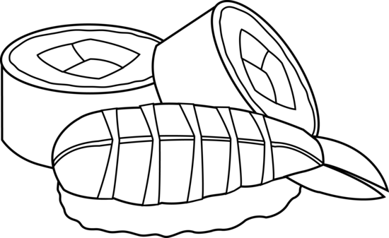 Sushi Black and White Outline