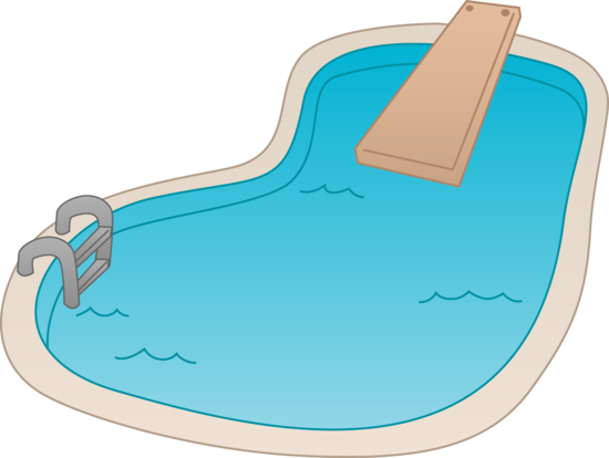 Swimming Pool With Diving Board Free Clip Art: how to draw swimming pool water