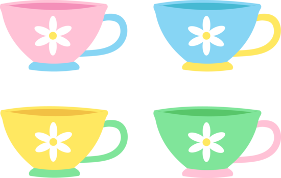 Four Cute Pastel Tea Cups