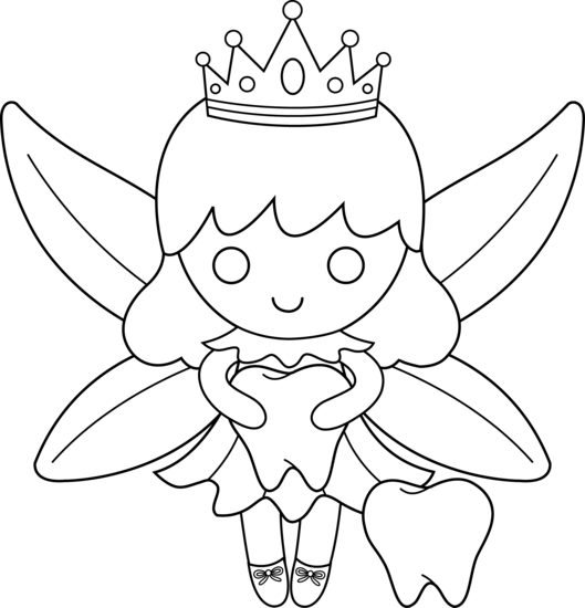 Cute Tooth Fairy Coloring Page