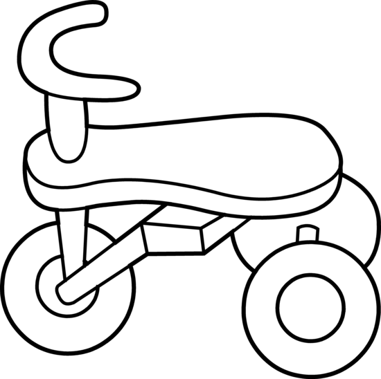 Toddler Tricycle Line Art Free Clip Art