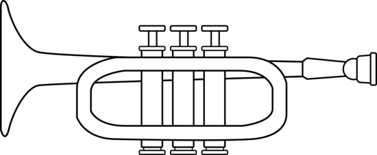 Trumpet coloring page free clip art for Sound of music coloring pages