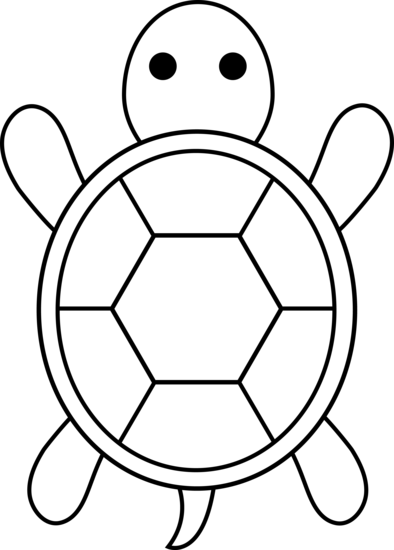 Cute Colorable Turtle - Free Clip Art