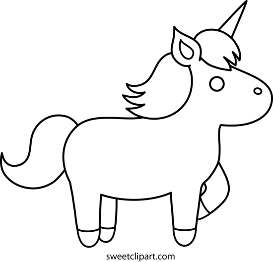 Cute Unicorn Coloring Page Free Clip Art