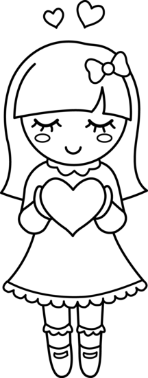 Cute Valentine Girl Coloring Page Free Clip Art