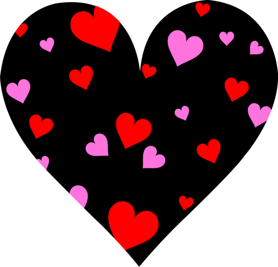 Black Heart With Pink and Red Hearts