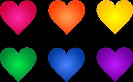 Rainbow Valentine Heart Symbols