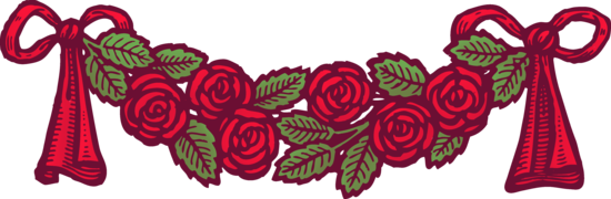 Vintage Red Roses and Ribbons Banner