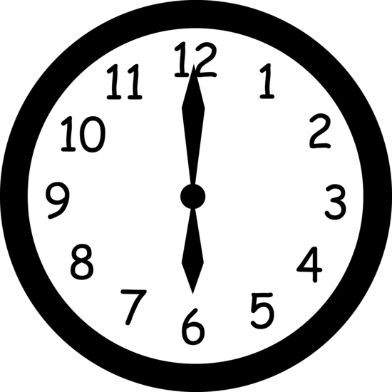 Black and White Clock Reading Six