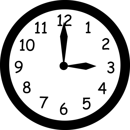 Black and White Clock Reading Three