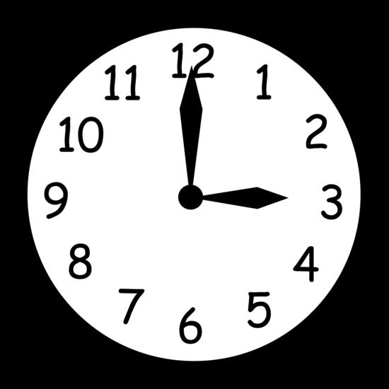 Black and White Clock Reading Three
