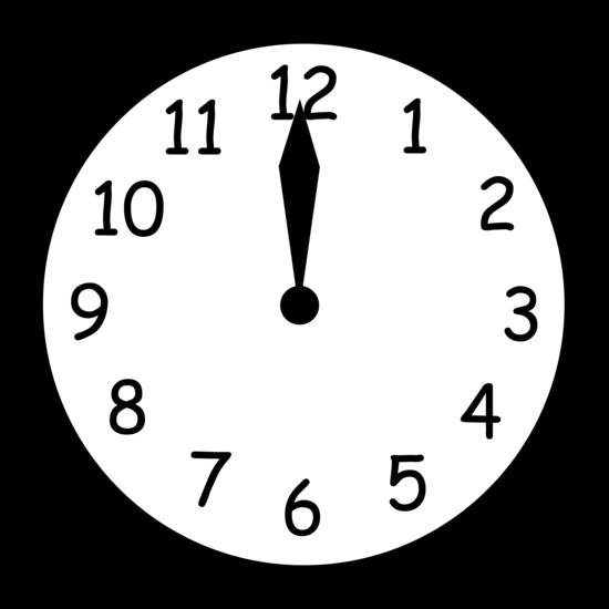 Black and White Clock Reading Twelve