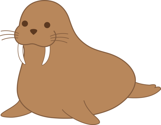 Cute Brown Walrus Clip Art
