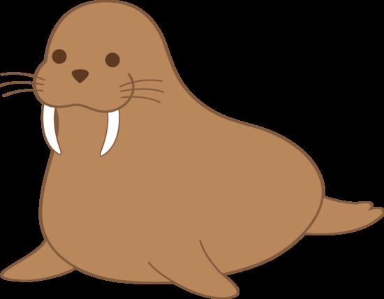 Cute Brown Walrus Clip Art