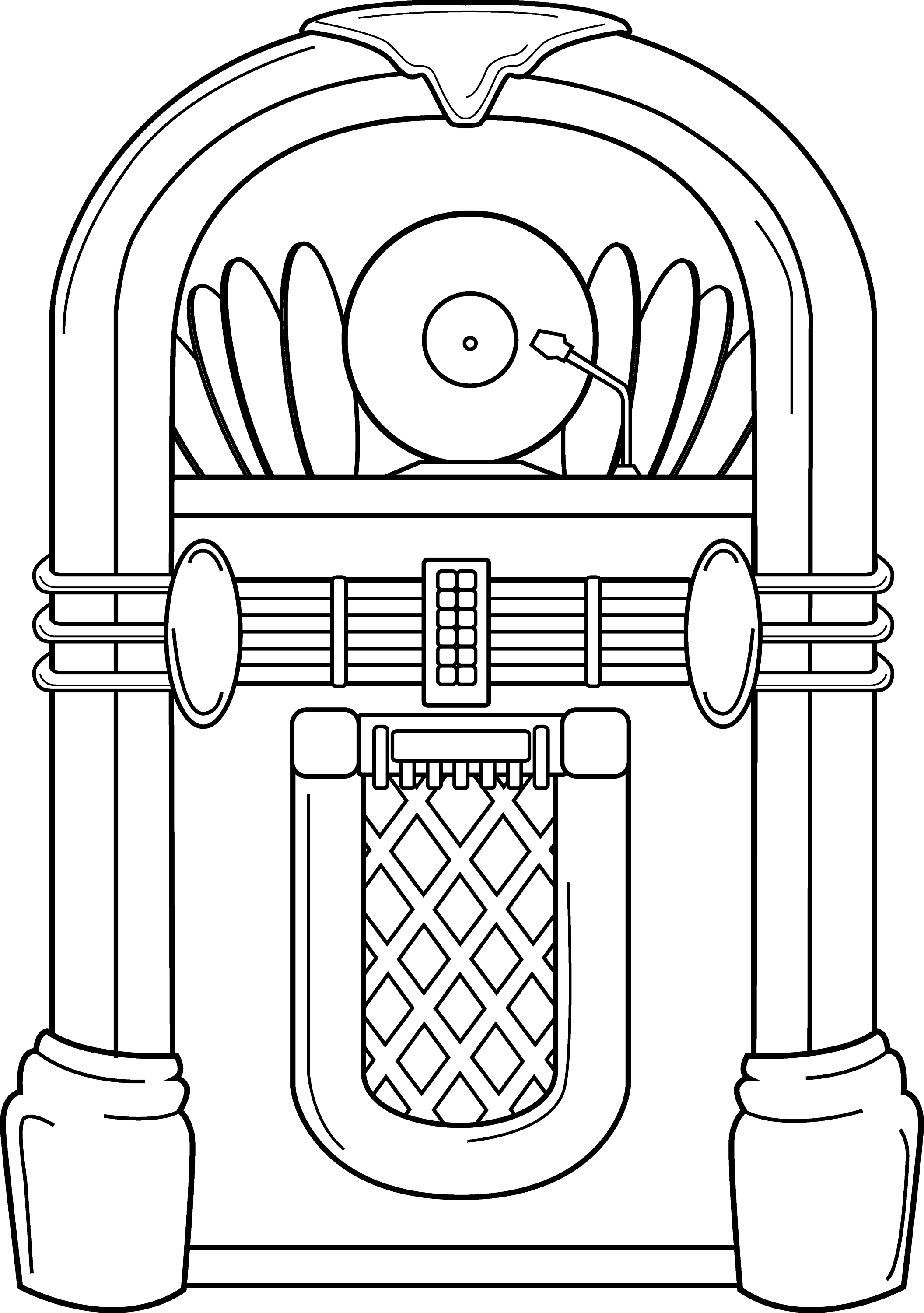 Line Art Jukebox : Old school jukebox line art free clip
