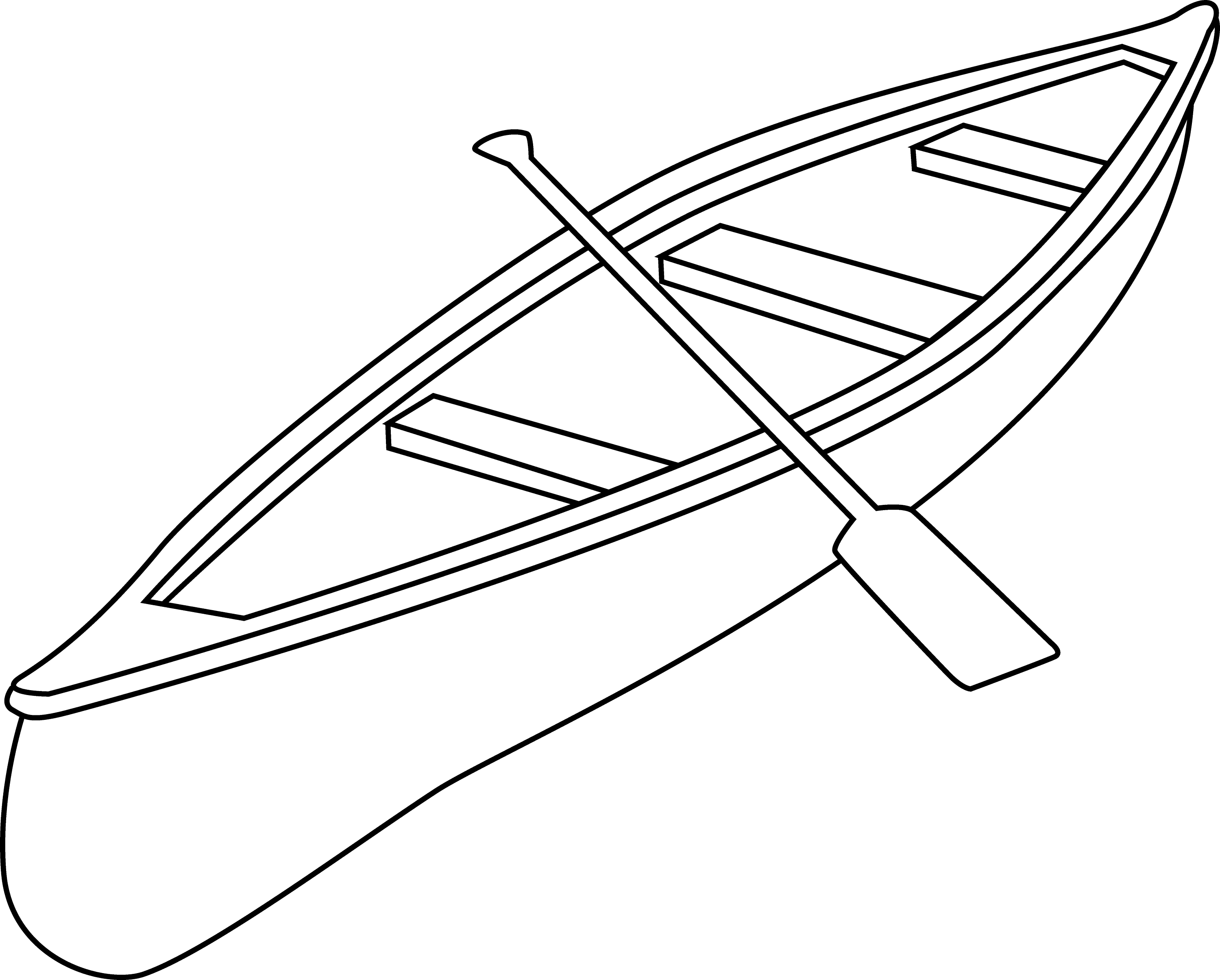 Line Art Boat : Canoe coloring page free clip art