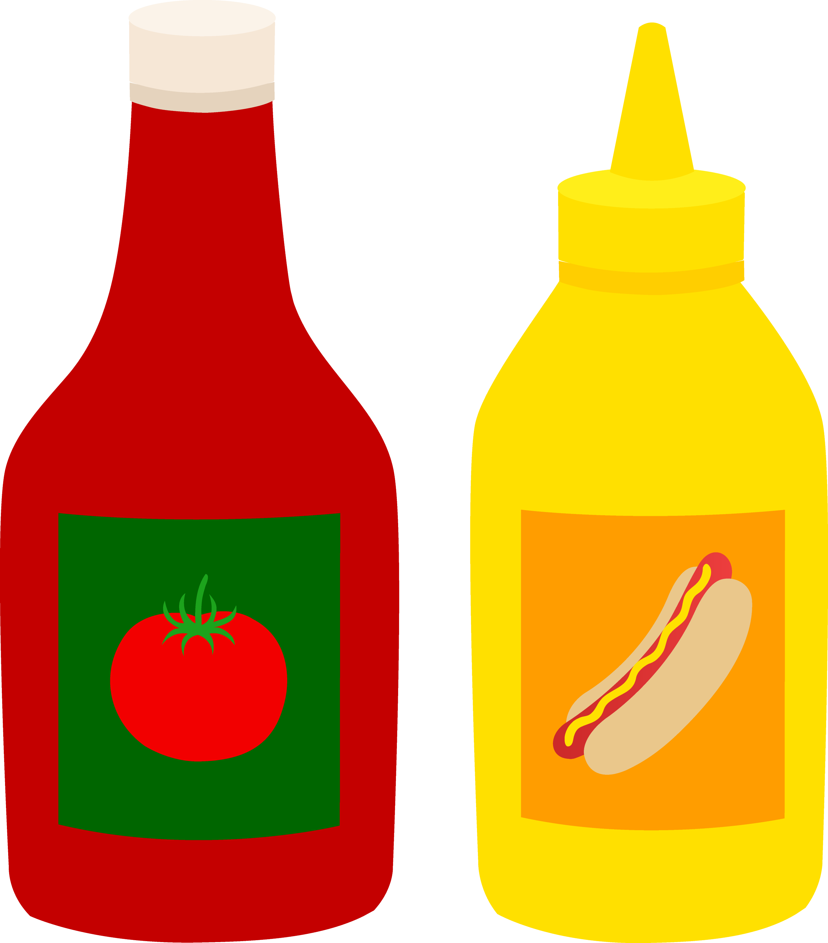 Bottles of Ketchup and Mustard - Free Clip Art