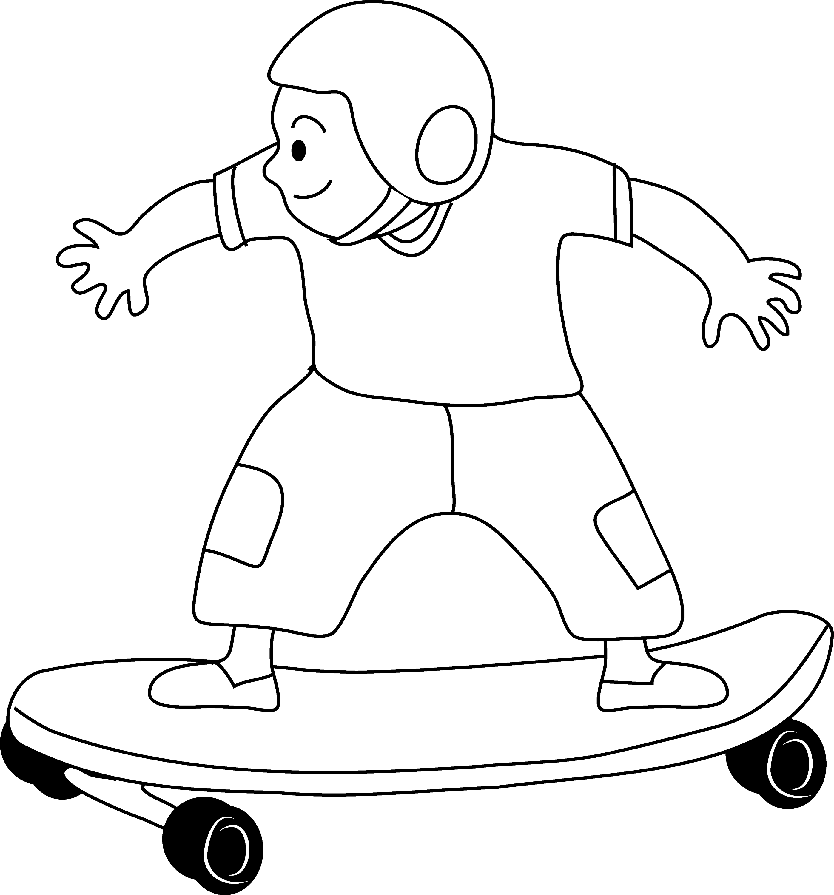 Skateboarding Kid Coloring Page - Free Clip Art