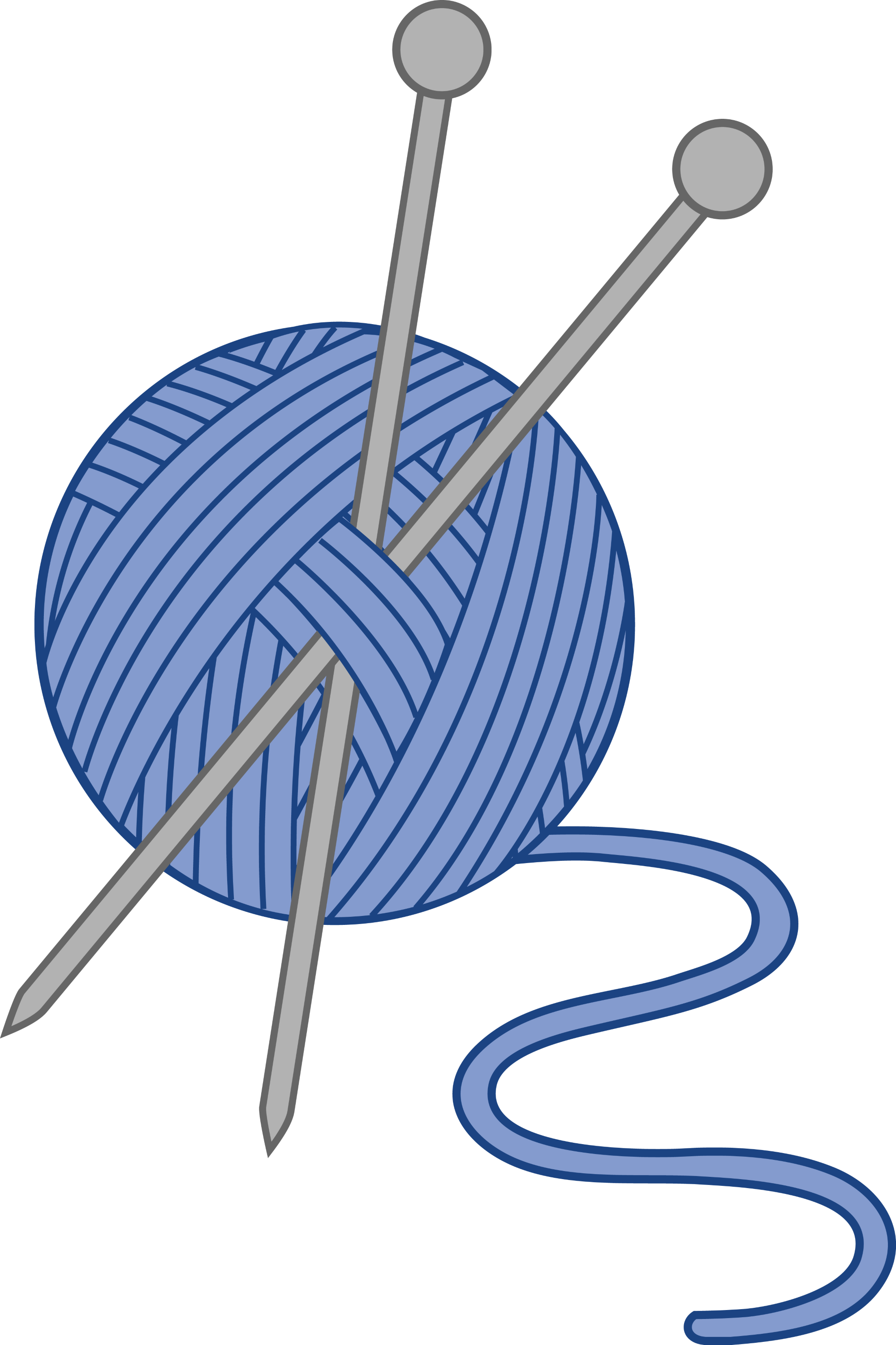 Blue Yarn and Knitting Needles - Free Clip Art