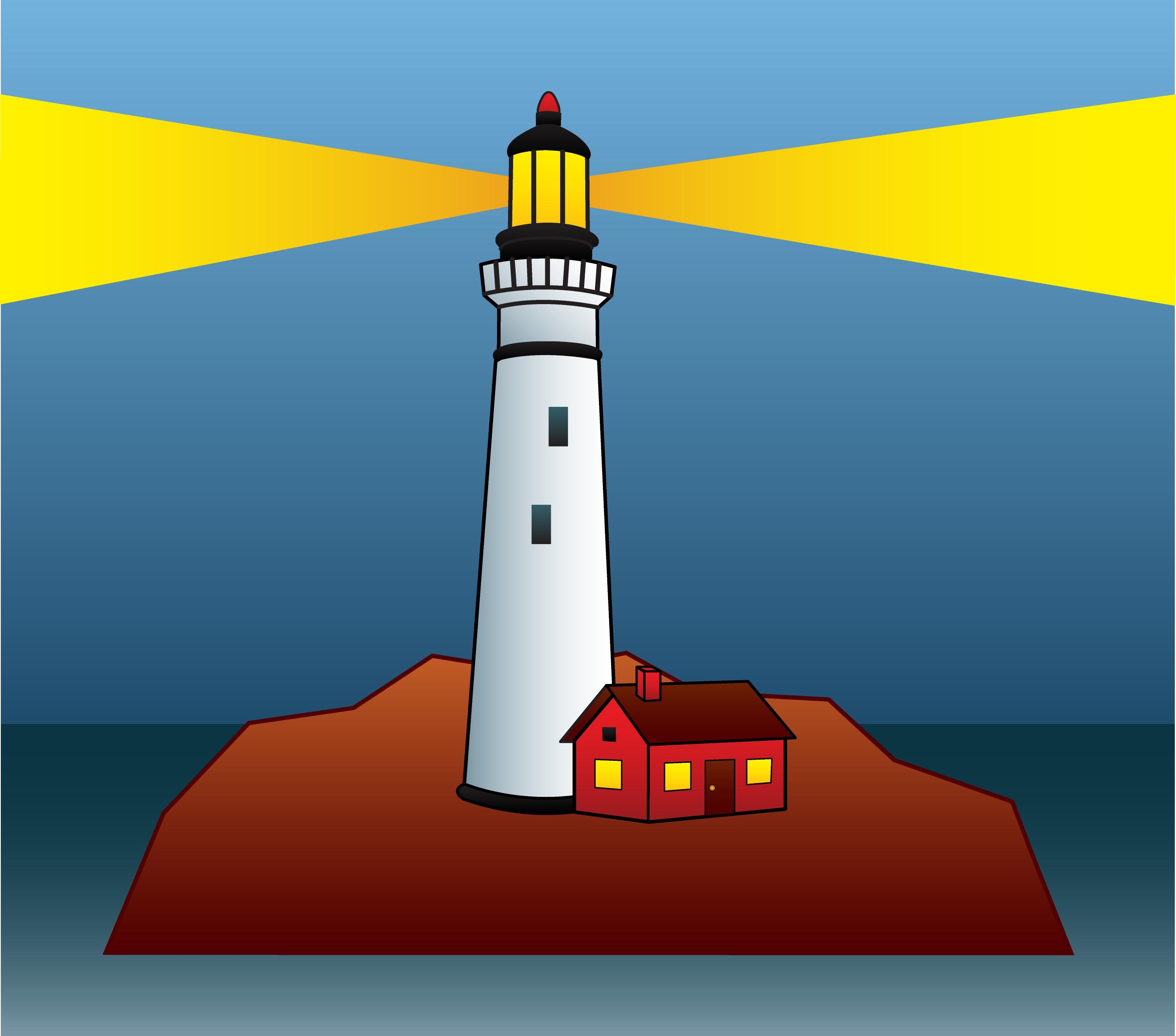 Lighthouse Shining Light At Night Free Clip Art