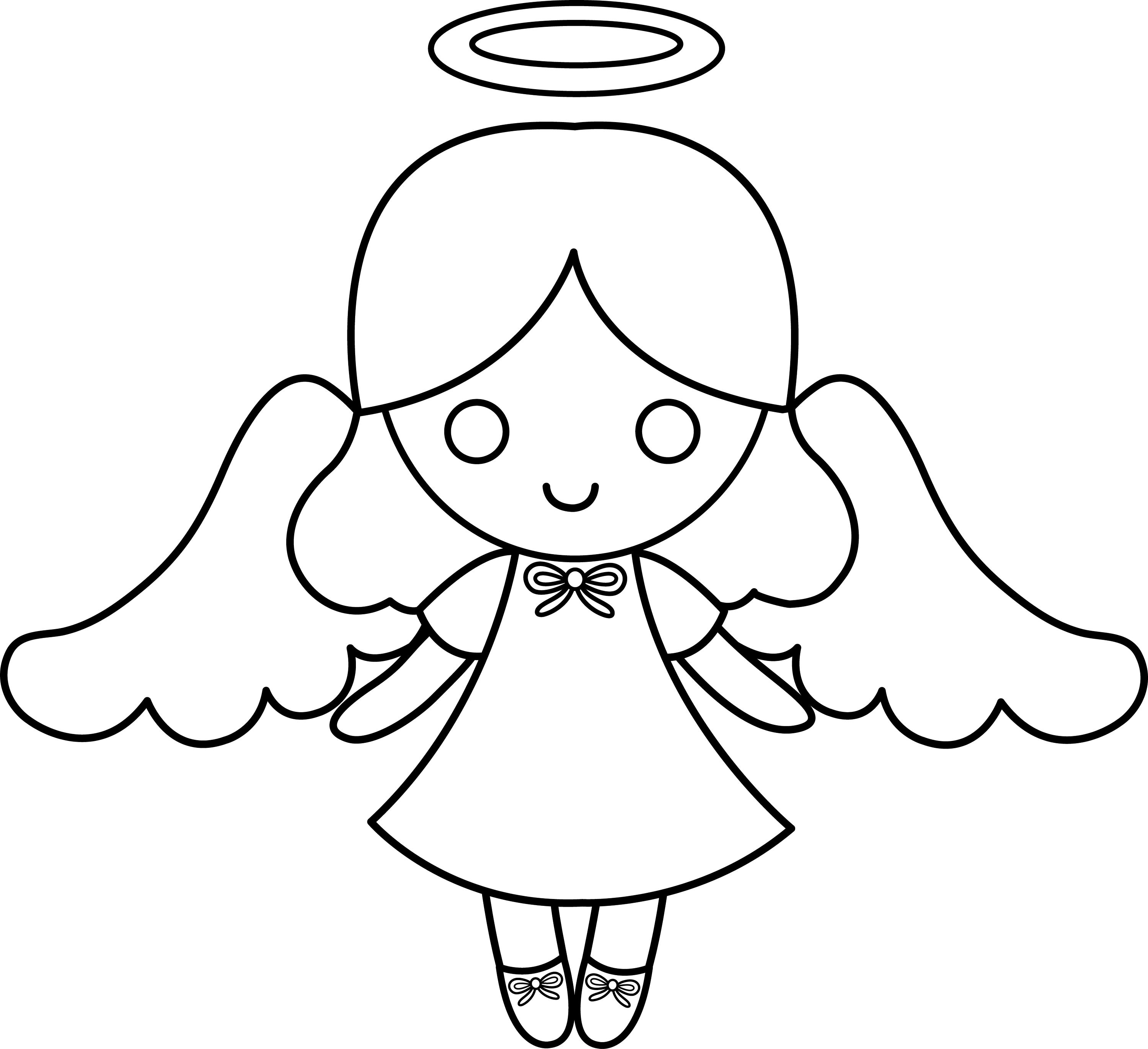 cartoon angel coloring pages | Cute Colorable Little Angel - Free Clip Art
