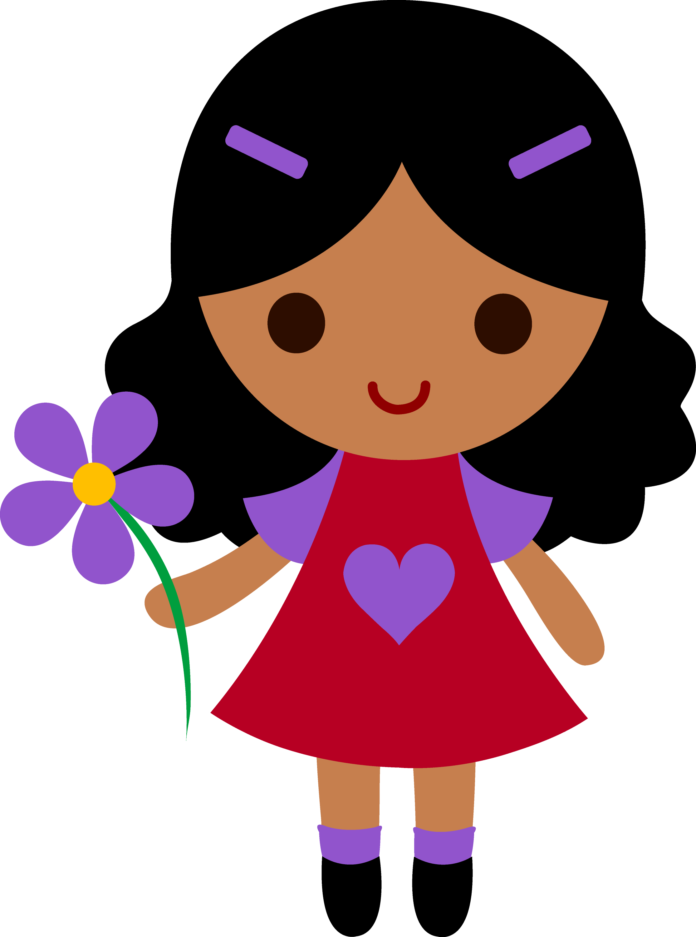 Little girl with purple flower