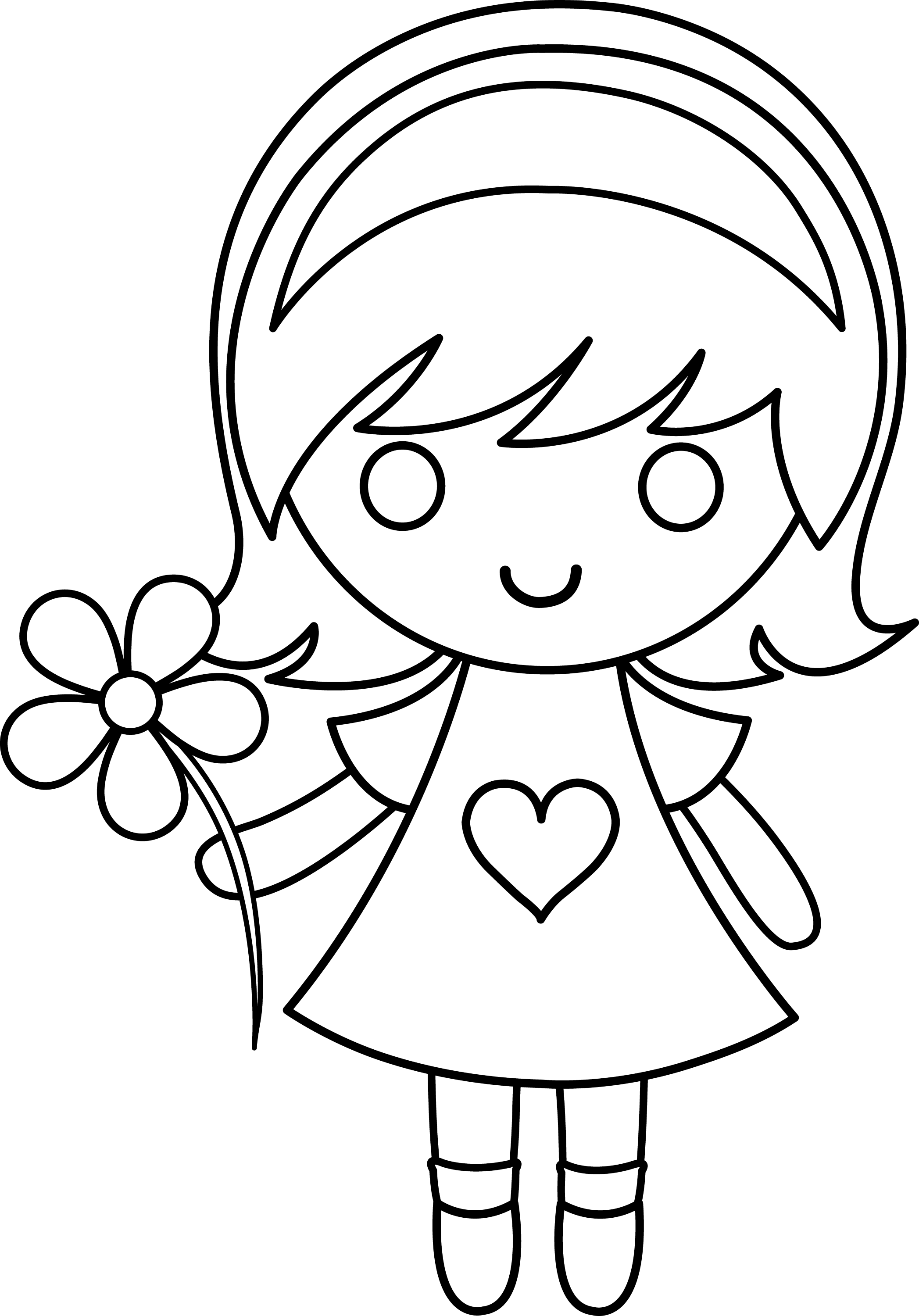 Line Drawing Girl : Daisy girl colorable line art free clip