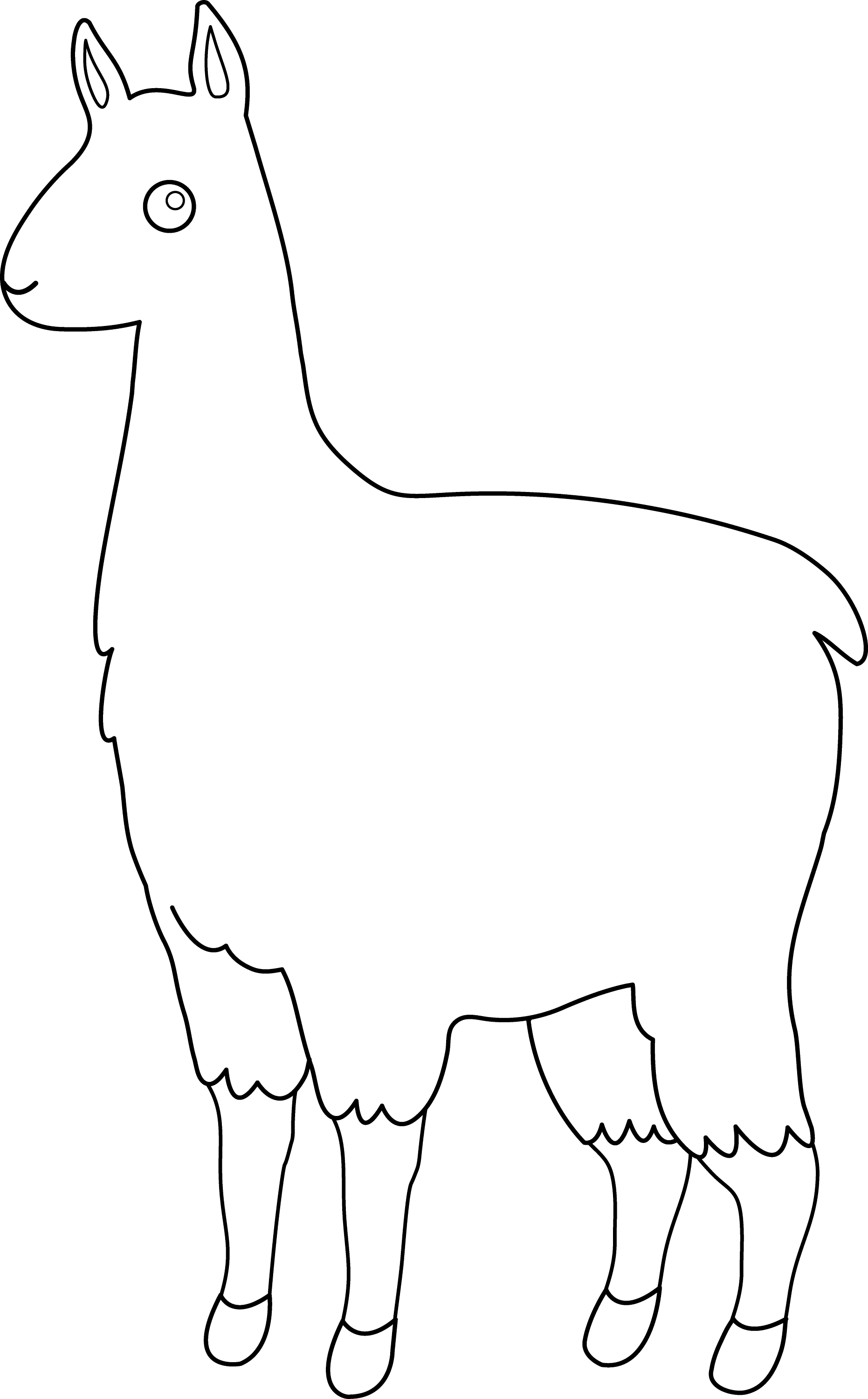 Line Drawing Llama : Cute llama line art free clip