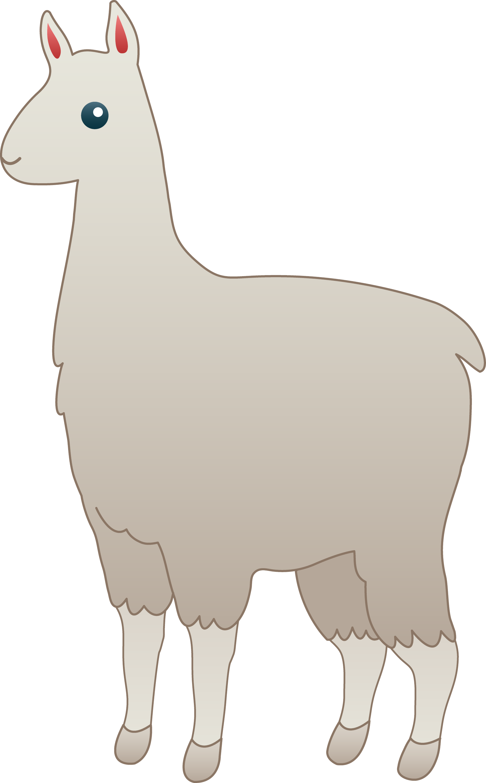 Fluffy White Llama - Free Clip Art