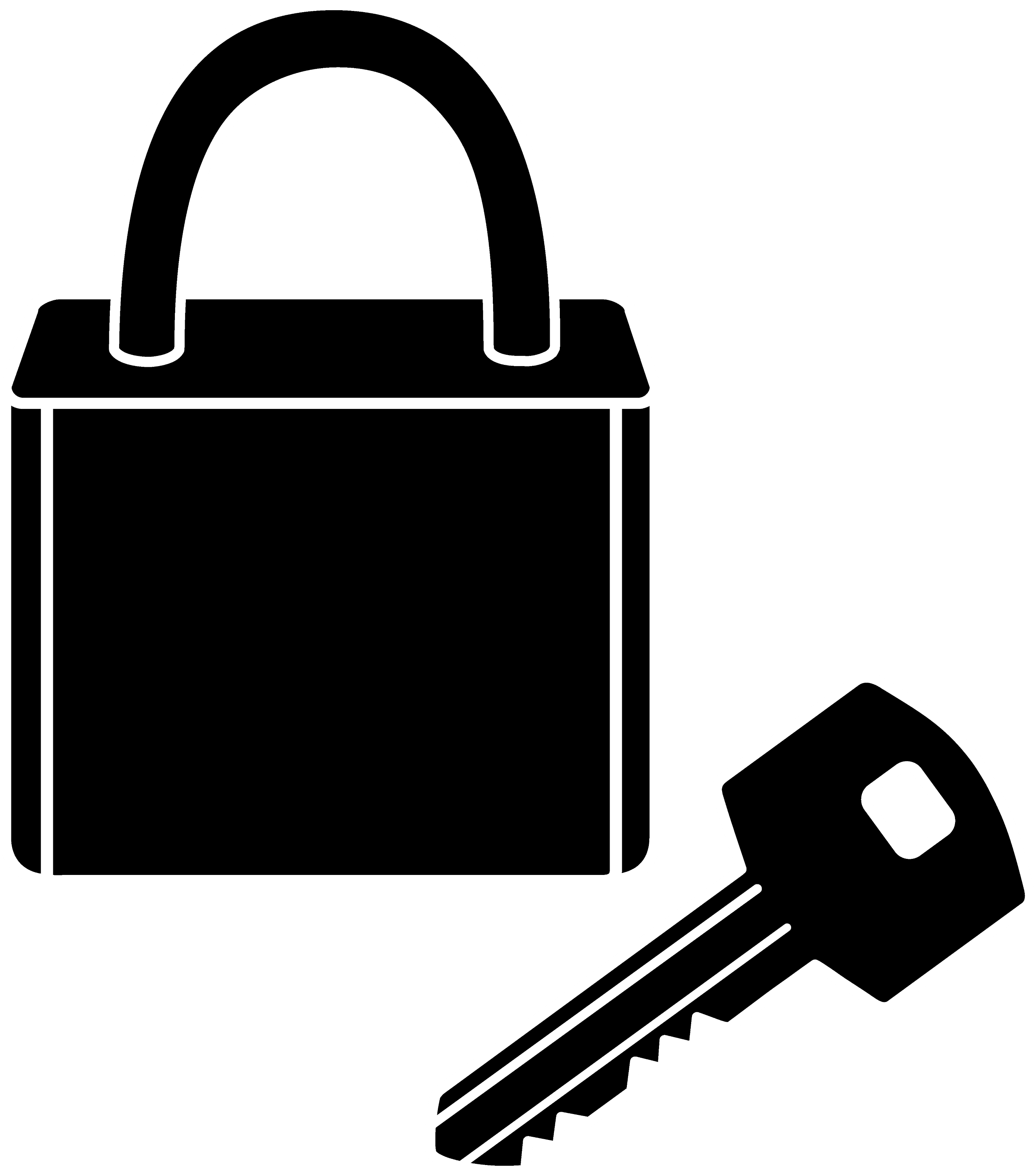 Lock and Key Silhouette - Free Clip Art for Lock And Key Clipart Black And White  21ane