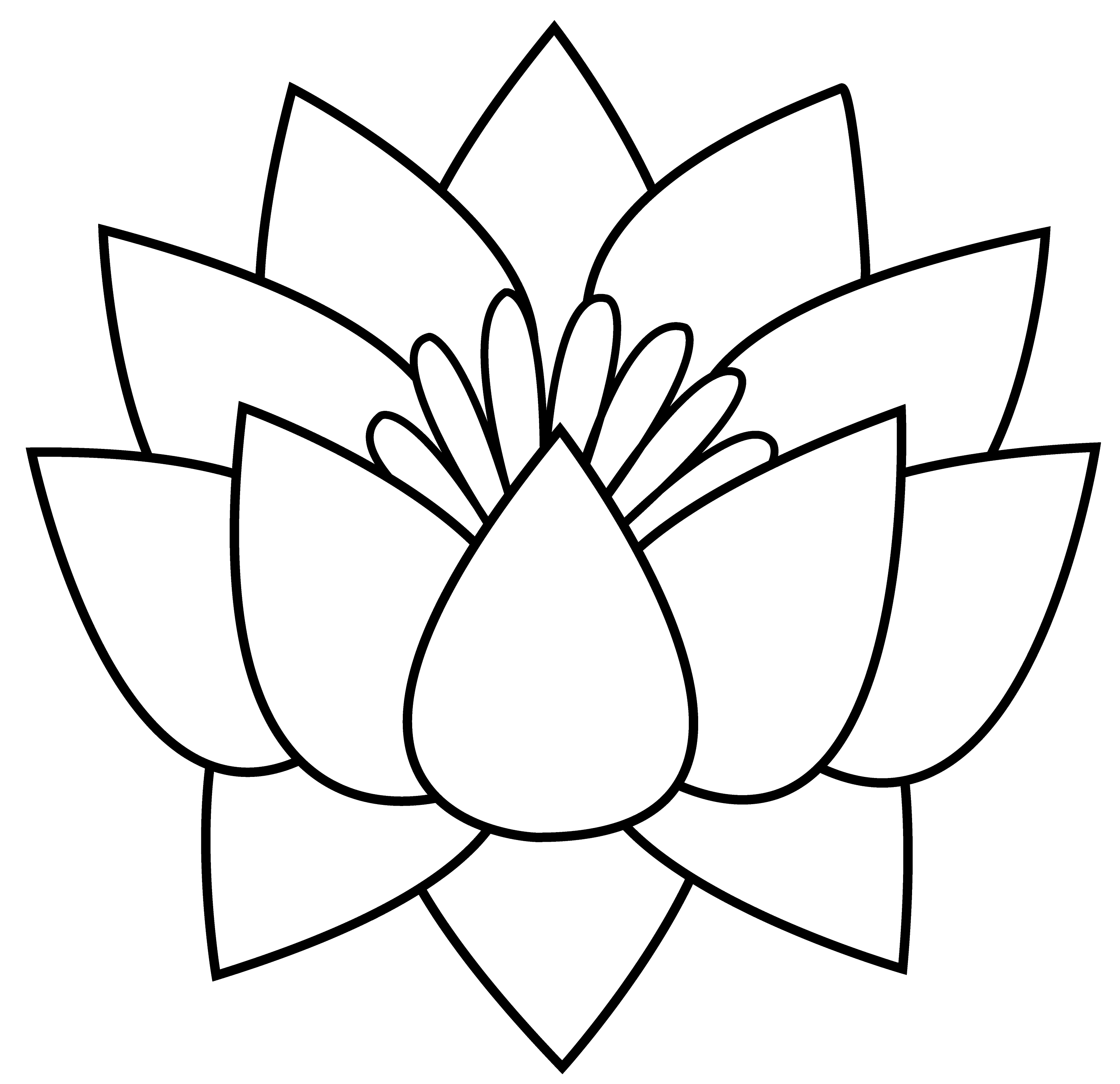 lotus flower line drawing - photo #17