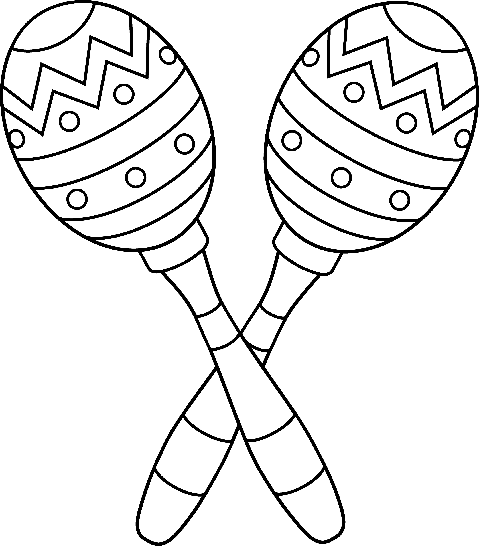 Two Maracas Line Art 1120 on Mexican Sombrero Coloring Sheet