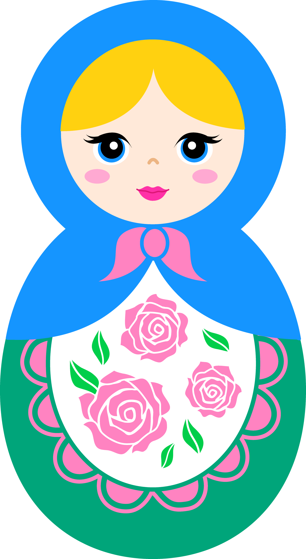 Cute Matryoshka Doll With Blonde Hair - Free Clip Art