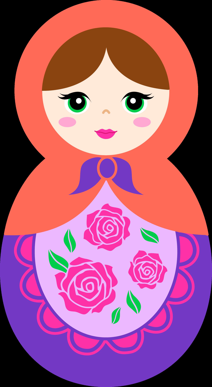 Cute Orange and Purple Matryoshka Doll - Free Clip Art