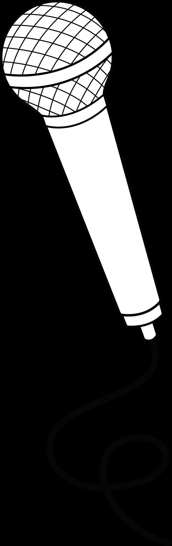 Microphone Line Art - Free Clip Art