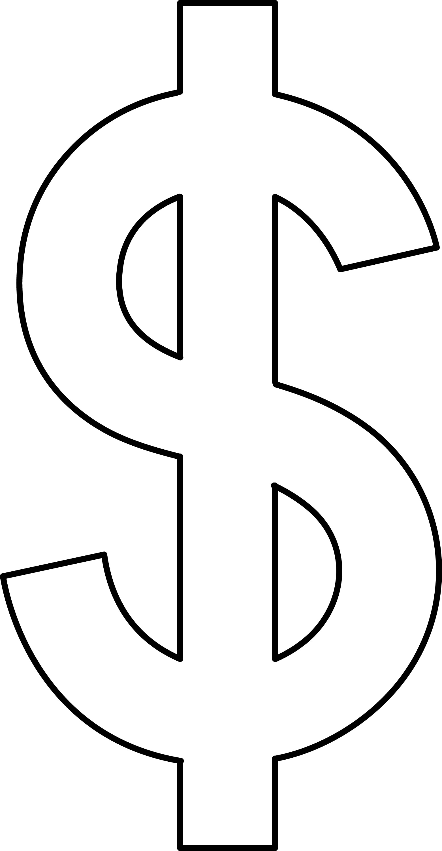 Line Art Money : Dollar sign line art free clip