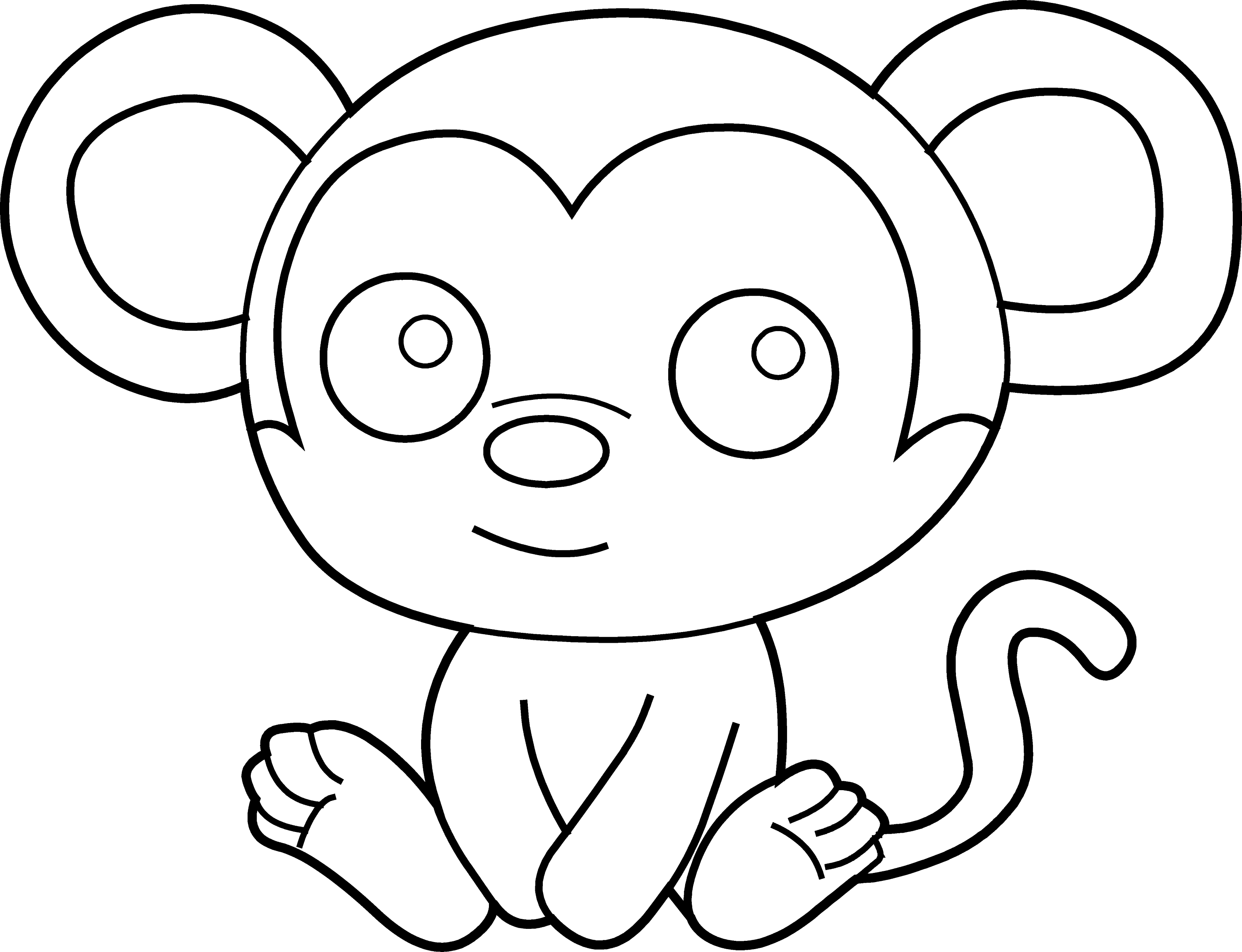 Little Monkey Coloring Page - Free Clip Art